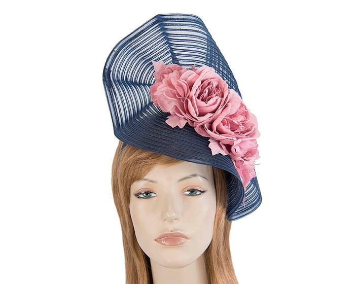 Fascinators Online - Large navy racing fascinator with pink flowers by Fillies Collection 1