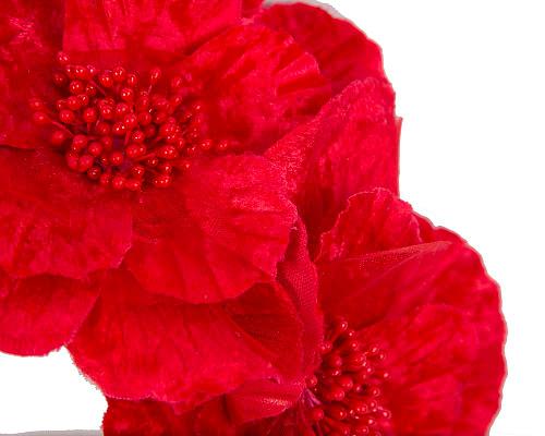 Fascinators Online - Bright red flowers on the headband 3