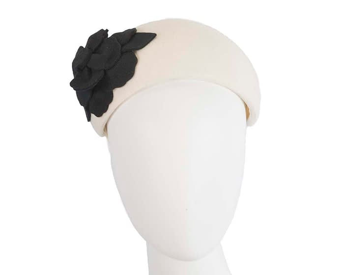 Fascinators Online - Wide headband cream winter fascinator with black flower by Max Alexander 1