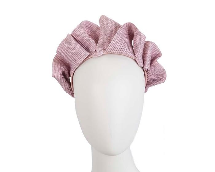 Fascinators Online - Dusty pink PU leather crown fascinator by Max Alexander 1