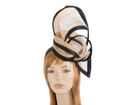 Fascinators Online - Tall black & nude designers fascinator by Fillies Collection 1