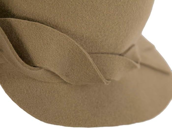 Fascinators Online - Unusual camel felt wide brim hat by Max Alexander 5