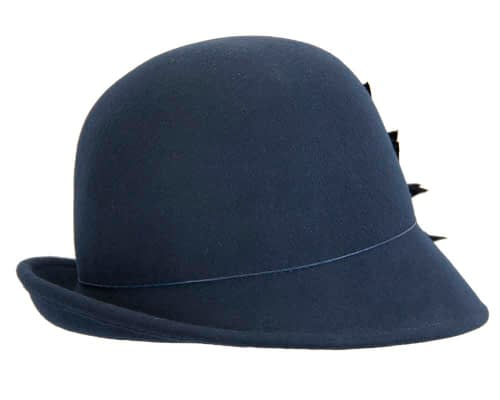 Fascinators Online - Navy felt cloche hat with lace by Max Alexander 3