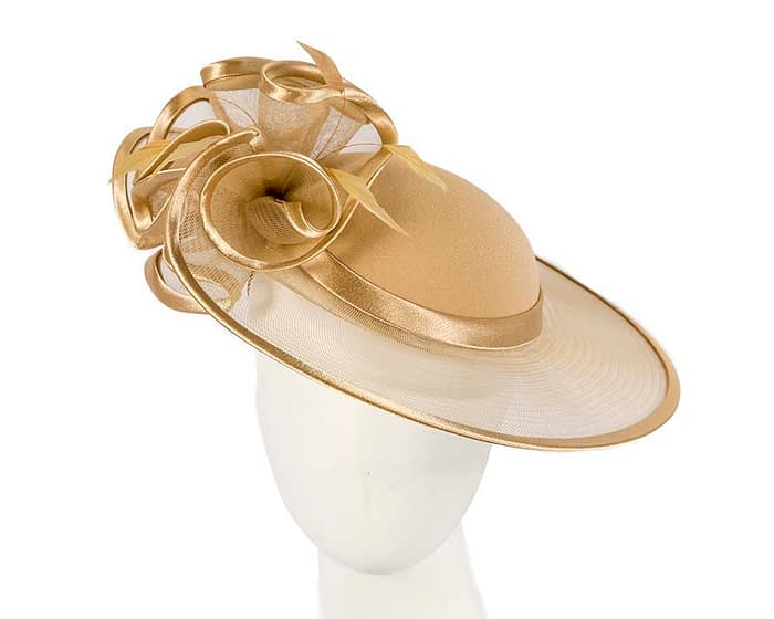 Fascinators Online - Gold custom made Mother of the Bride hat by Cupids Millinery 1