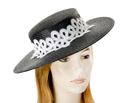 Fascinators Online - Black & white fashionable boater hat with lace 7