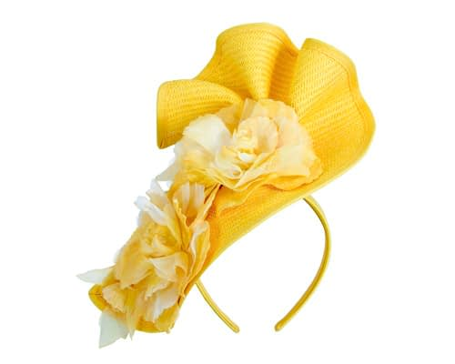 Fascinators Online - Bespoke large yellow flower fascinator by Fillies Collection 2