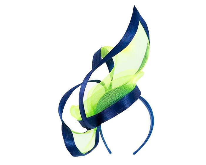 Fascinators Online - Edgy royal blue & lime fascinator by Fillies Collection 5