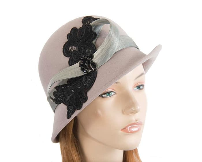 Fascinators Online - Grey autumn & winter fashion felt cloche hat by Fillies Collection 1