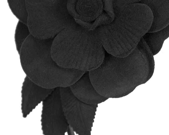 Fascinators Online - Black felt flower fascinator by Max Alexander 3