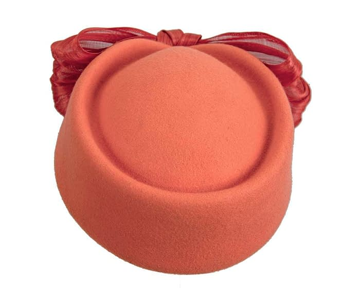 Fascinators Online - Orange felt ladies fashion beret hat with bow by Fillies Collection 3