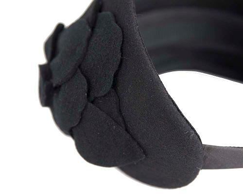 Fascinators Online - Wide headband black winter fascinator with flower by Max Alexander 4