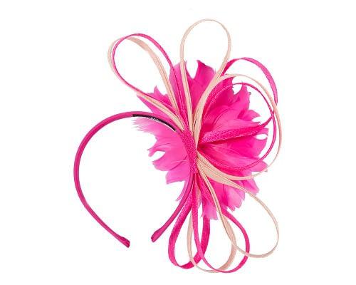 Fascinators Online - Fuchsia & blush feather flower fascinator headband by Max Alexander 4