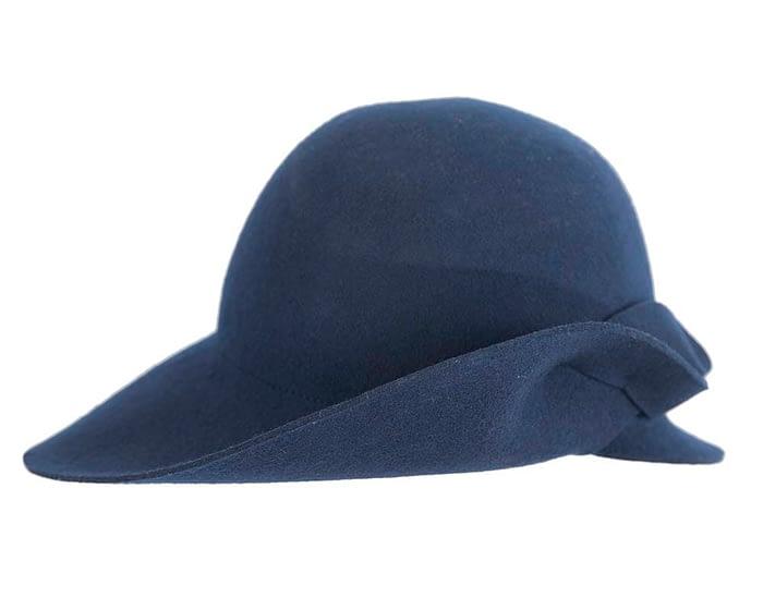 Fascinators Online - Unusual navy felt wide brim hat by Max Alexander 4