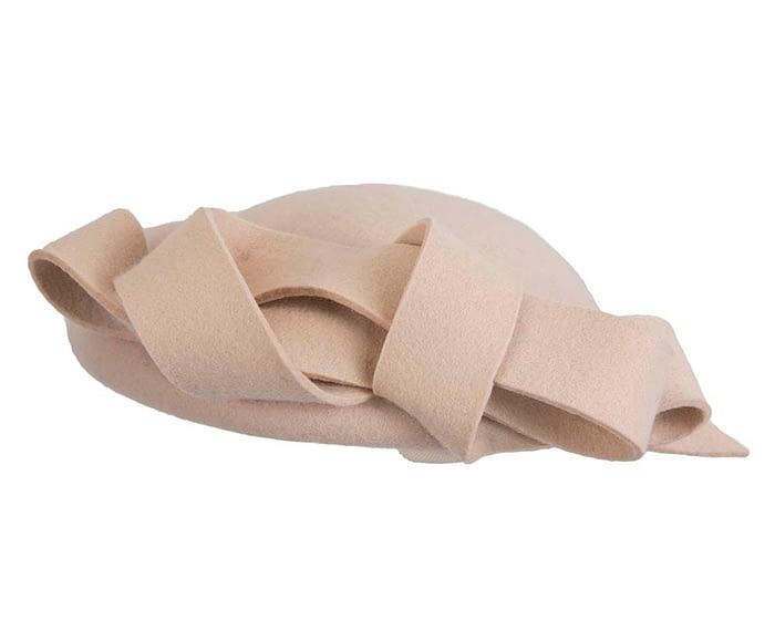 Fascinators Online - Large nude felt fascinator hat by Fillies Collection 5