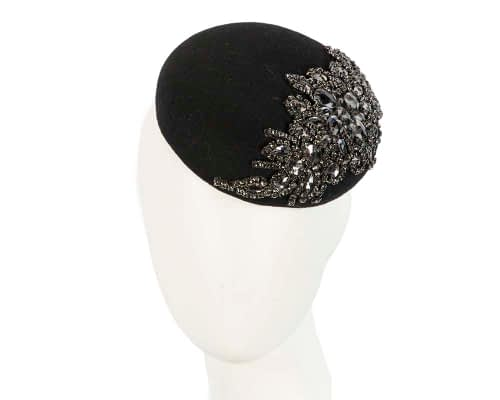 Fascinators Online - Black round pillbox with jewels 5