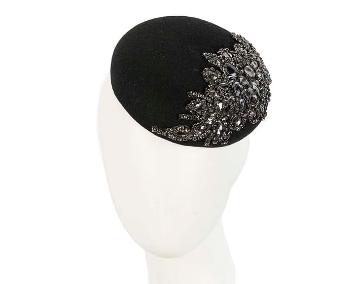 Fascinators Online - Black round pillbox with jewels 1