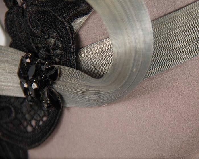 Fascinators Online - Grey autumn & winter fashion felt cloche hat by Fillies Collection 5