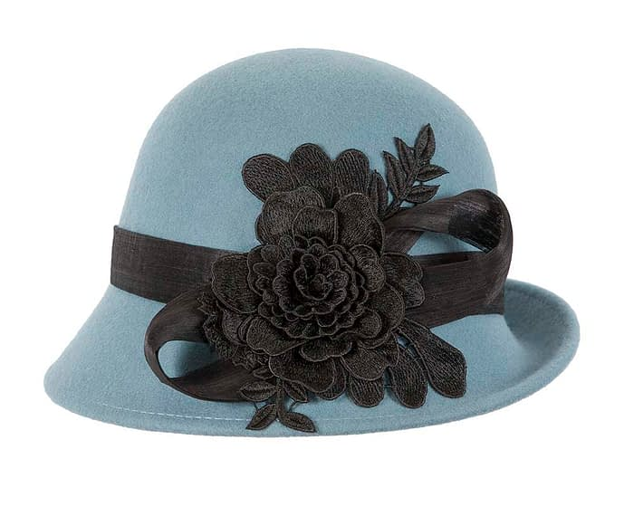 Fascinators Online - Exclusive blue felt cloche hat with lace by Fillies Collection 4