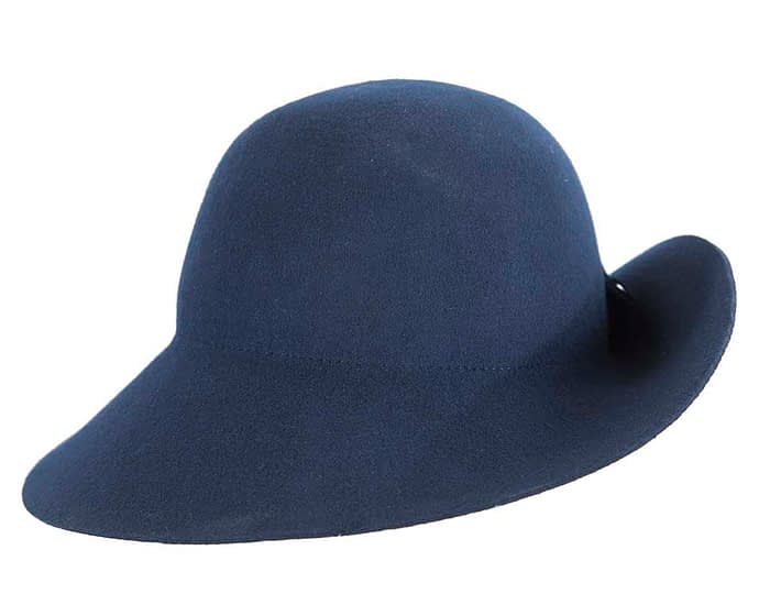 Fascinators Online - Unusual navy felt wide brim hat by Max Alexander 6