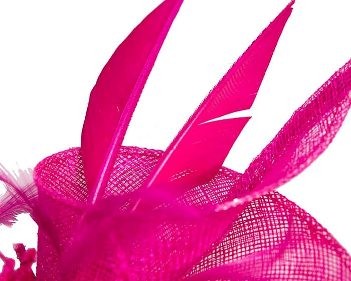 Fascinators Online - Fuchsia racing fascinator with feathers by Max Alexander 3