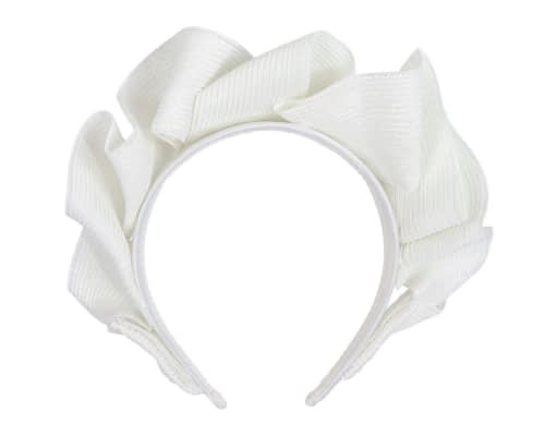 Fascinators Online - White PU leather crown fascinator by Max Alexander 4