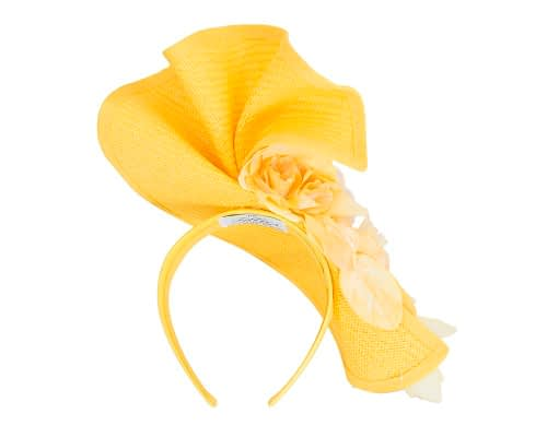 Fascinators Online - Bespoke large yellow flower fascinator by Fillies Collection 5