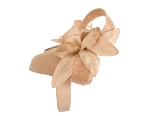 Fascinators Online - Tall beige felt pillbox with flower by Fillies Collection 5