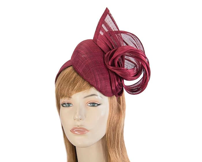Fascinators Online - Burgundy pillbox fascinator with silk bow by Fillies Collection 1
