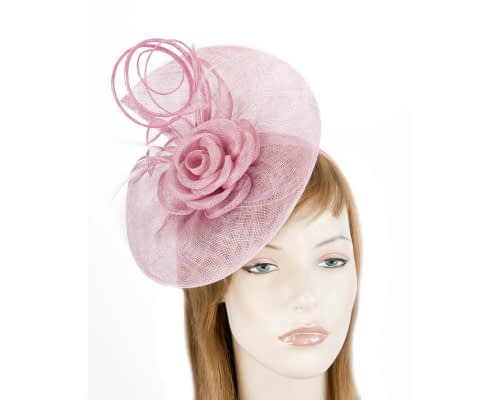 Fascinators Online - Large dusty pink sinamay racing fascinator with feathers by Max Alexander 1