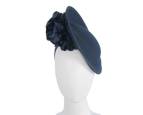 Fascinators Online - Large navy plate with flowers by Fillies Collection 143