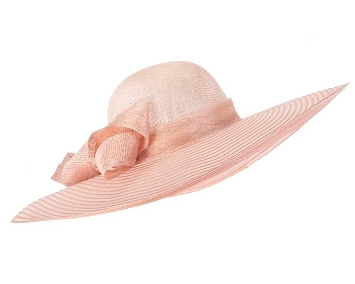 Fascinators Online - Wide brim dusty pink fashion hat by Max Alexander 2