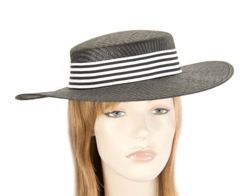 Fascinators Online - Black & white boater hat by Max Alexander 11