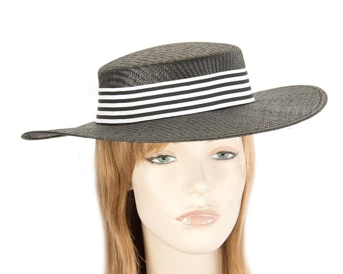 Fascinators Online - Black & white boater hat by Max Alexander 1