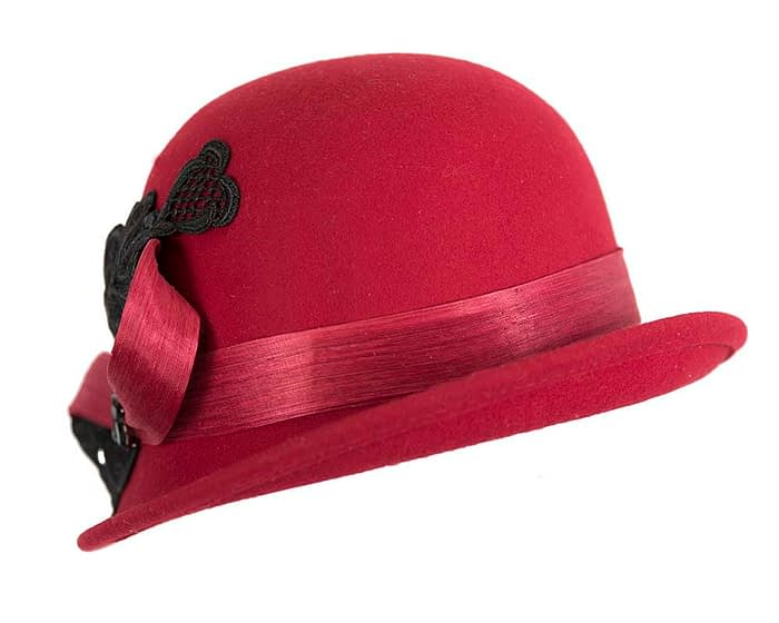 Fascinators Online - Red autumn & winter fashion felt cloche hat by Fillies Collection 4