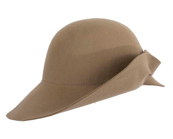 Fascinators Online - Unusual camel felt wide brim hat by Max Alexander 4