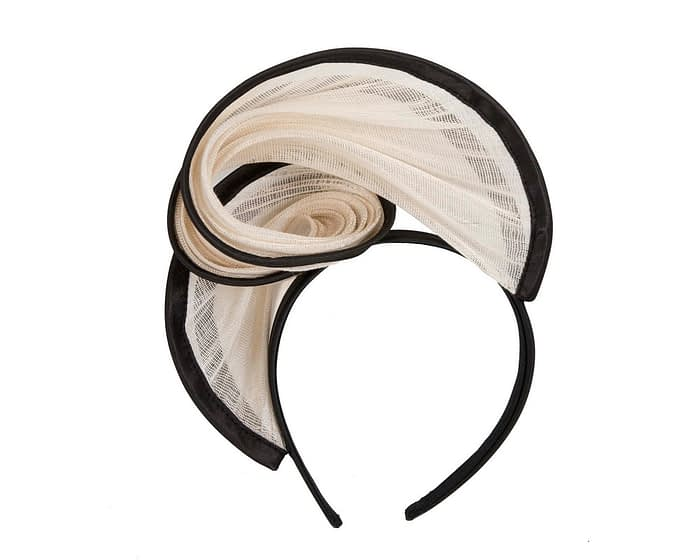 Fascinators Online - Cream & black headband racing fascinator by Fillies Collection 4