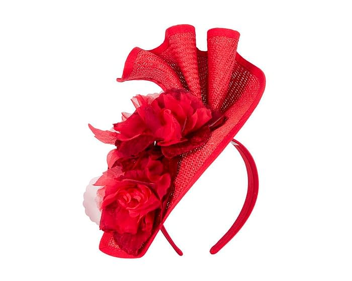Fascinators Online - Bespoke large red flower fascinator by Fillies Collection 2