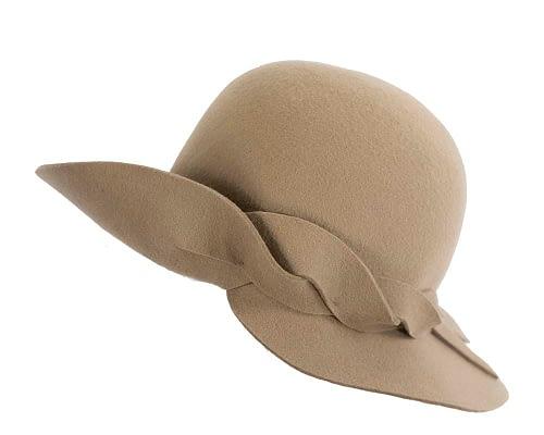 Fascinators Online - Unusual camel felt wide brim hat by Max Alexander 2