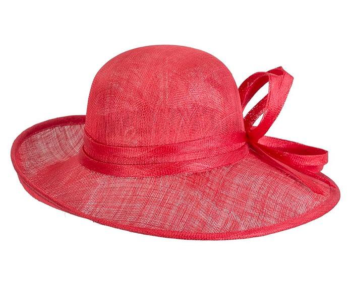 Fascinators Online - Red ladies sinamay racing hat by Max Alexander 6