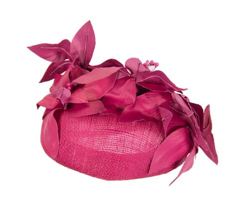 Fascinators Online - Fuchsia leather flower pillbox fascinator by Fillies Collection 6