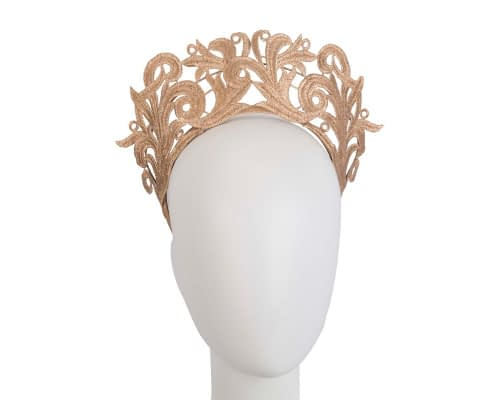 Fascinators Online - Gold lace crown racing fascinator by Max Alexander 1
