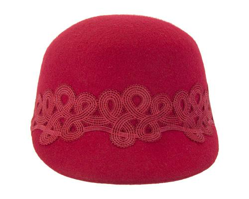 Fascinators Online - Red felt ladies cap with lace 5