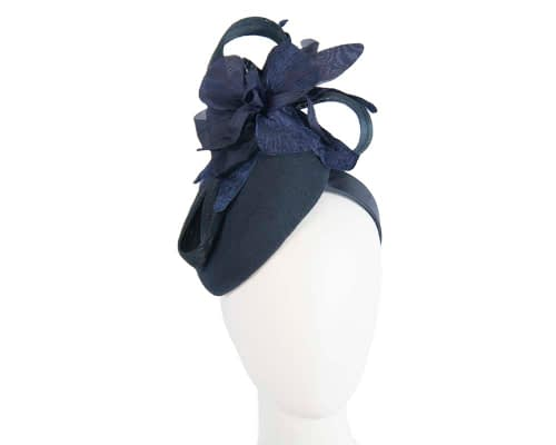 Fascinators Online - Tall navy felt pillbox with flower by Fillies Collection 1