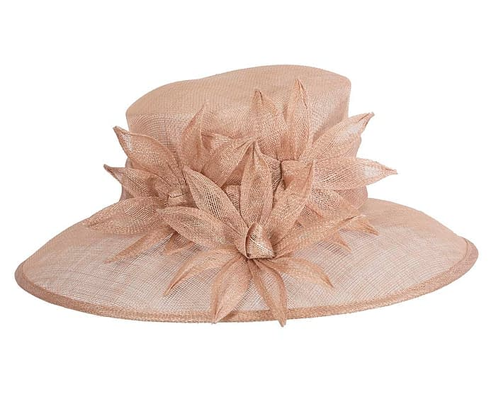 Fascinators Online - Large traditional nude racing hat by Max Alexander 4