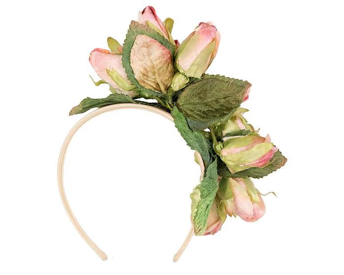 Fascinators Online - Multi-color pink roses flower headband by Max Alexander 4