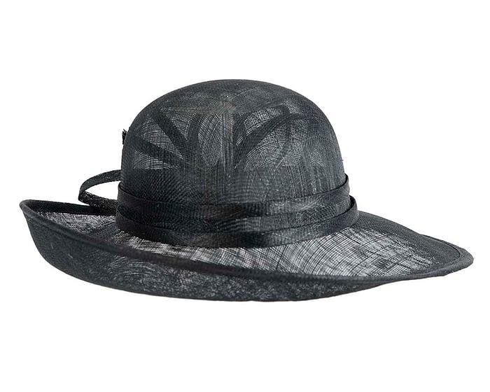 Fascinators Online - Black ladies sinamay racing hat by Max Alexander 3