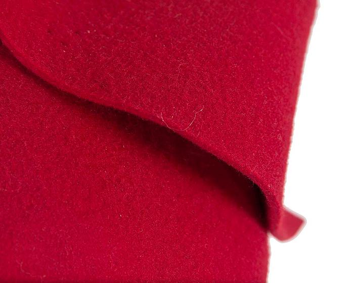 Fascinators Online - Red felt winter fashion pillbox fascinator by Max Alexander 5