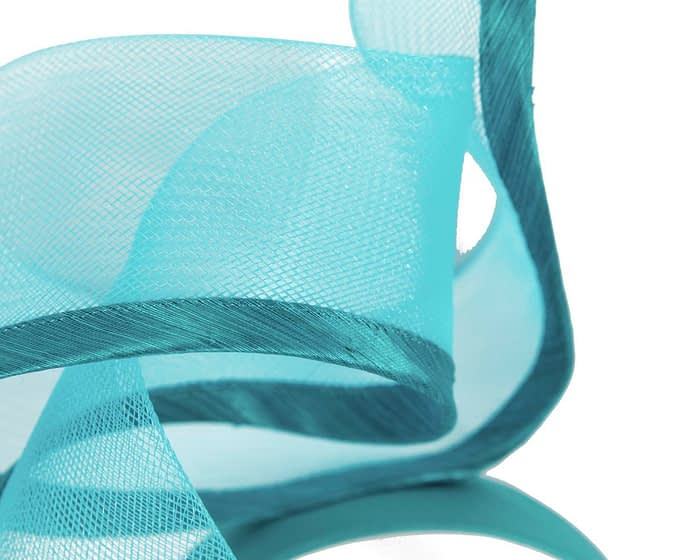 Fascinators Online - Twisted turquoise racing fascinator by Fillies Collection 3
