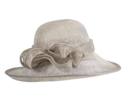 Fascinators Online - Wide brim silver sinamay racing hat by Max Alexander 3