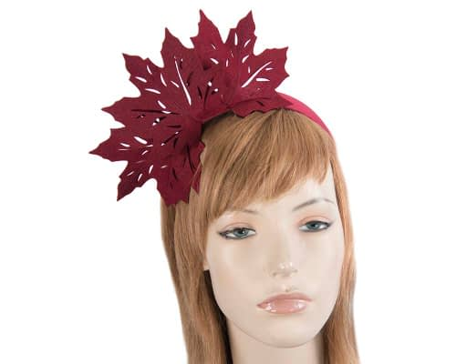 Fascinators Online - Burgundy Laser Cut felt Maple Leaves on a Headband 2